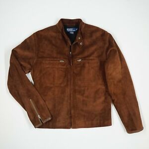 Men's Polo Ralph Lauren (S) Chocolate Brown Suede Cafe Racer Moto Leather Jacket