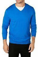 Alfani Mens Sweater Cobalt Blue Size Large L Ribbed Pullover V-Neck $60 #091