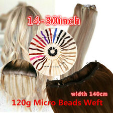 8A 12inch - 30inch 120g Micro Beads Weft Hair Extensions black brown Blonde