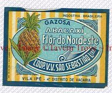 1940s BRASIL Vila Ipe Sebastiao ABACAXI FLOR DO NORDESTE Label