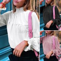 Size Women Vintage Frill Collar Lolita Blouse Top Victorian OL Gothic Shirt 8-26