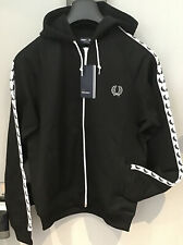 Fred Perry : Taped Hooded Track Top / Jacket (M ) Black