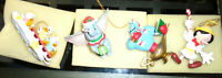 4 Rare Vintage Disney Christmas Ornaments Pinocchio Aladdin Dumbo Huey w/ boxes