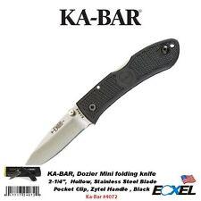 KA-BAR #4072 Mini Dozier Folder, Black, Black Clip, Straight Edge