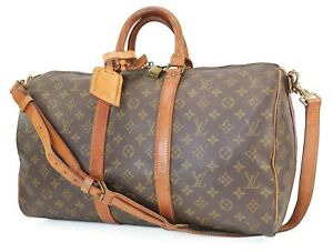 Authentic LOUIS VUITTON Keepall Bandouliere 45 Monogram Canvas Duffel Bag #40315