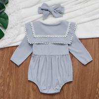 Newborn Baby Boutique Tops Jumpsuit Girls Romper+Headband Daily Kids Bodysuit