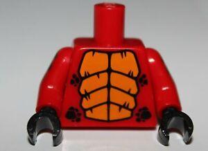 Lego Red Dragon Torso w/ Bright Light Orange Large Scales Black Small Scales