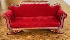 Dollhouse Miniature Burgundy Velvet FANTASTIC MERCHANDISE Fine QUEEN ANNE SOFA