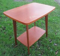 Vintage Authentic TV Stand Table On Wheels Mid Century Danish Modern Teak 60s