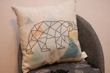 Linen Nature Pillow with filling, linen decorative pillow with Bear