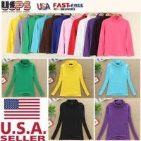 Women Turtleneck Long Sleeve T-Shirt Stretch Cotton Base Shirts Tops Blouse US