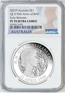 2021 QUEEN ELIZABETH 95th Birthday Silver $1 Proof coin NGC PF70 UC ER .9999