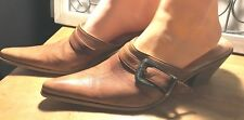 LUMIANI SPECIALE LEATHER MED HEEL WESTERN MULES SHOES MADE IN ITALY 39/8.5