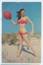 Let's Play! Sexy Swimsuit Girl Lady in Bikini with BallVintage Postcard