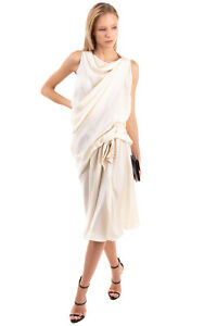 RRP €1955 LANVIN Draped Dress Size 36 / S Silk Lined Pleated Made in France