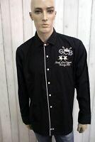 LA MARTINA Camicia Taglia XL Nero Cotone Uomo Shirt Chemise Casual Manica Lunga