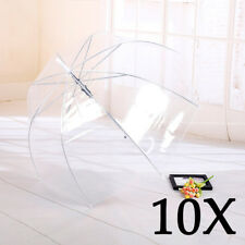 10x Large Clear Dome See Through Umbrella Handle Transparent Walking Waterpoof