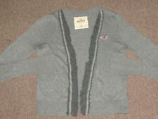 Hollister Womens Heater Gray Lace Open Front Cardigan Sweater M medium top