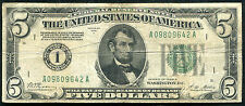 """FR. 1951-A 1928-A $5 FRN FEDERAL RESERVE NOTE """"NUMERICAL GOLD ON DEMAND"""""""