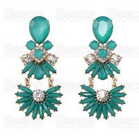 STATEMENT CHANDELIER EARRINGS aqua turquoise green CRYSTAL gold fashion UK GIFT