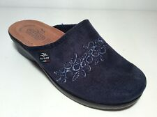 FLY FLOT L7856 WE BLU CIABATTE DONNA MADE IN ITALY SOTTOPIEDE VERA PELLE ANATOMI