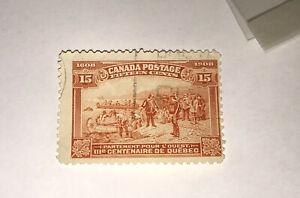 CANADA, SCOTT #102, 15c unhinged RED ORANGE QUEBEC TERCENTENARY 1908 ISSUE USED