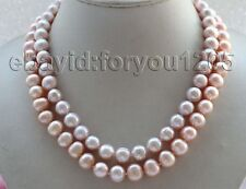 "Pink Round Pearl Necklace #f1861! 17-18"" Double Genuine Natural 10mm Purple"