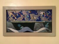 """ORIGINAL SIGNED BY ARTIST  COLORFUL ABSTRACT OIL PAINTING """"BLUE MARGINS"""" 22""""X13"""""""