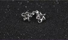 Shiny Polish 925 Sterling Silver PL Cute Small Filigree Star Stud Earrings Gift