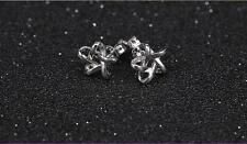 Shiny Polish 925 Sterling Silver PL Cute Small Filigree Star Stud Earrings Gift