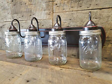 Mason Jar Light 4-Light Weathered Bronze Vanity Light with Authentic Ball Jars