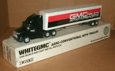 1/64 Scale White GMC Aero Conventional Tractor Trailer Truck Diecast Model Ertl
