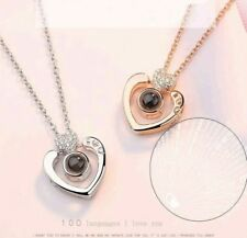 100 Languages I Love You Pendant Necklace crystal Heart Valentine + gift box 923