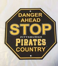 """Pittsburgh Pirates Stop Sign Room Bar Decor NEW 12"""" x 12"""""""