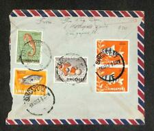 1963 Singapore To Taiwan Total 40 Cents Fish Stamp Chop Mail Rare Cover (C1411)