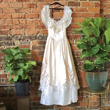 Gunne Sax Dress Jessica McClintock Vtg 80s Prom Wedding Satin Lace Crinoline Med