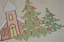 CHRISTMAS CHURCH IN WOODS & CANDLES ON TREES! VTG GERMAN HAND EMB TABLECLOTH