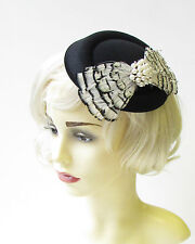 Black White Cream Ivory Feather Pillbox Hat Fascinator Hair Races Vintage 1403