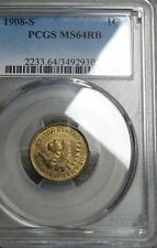 New listing 1908-S Indian Cent Penny - Pcgs Ms-64 Rb Gem Bu+ - #131