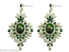 Urban Victorian Gothic Silver Earrings Green & Clear Crystal Bling