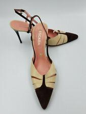 NEW - Escada Brown Velvet and Tan Leather Stiletto Heels Size 9.5