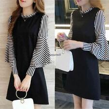Korean Women Stripe A Line Empire Waist Slim Flare Sleeve Party Mini Dress Black