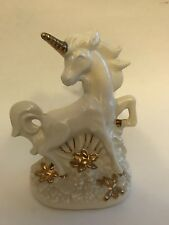 "Vintage Ceramic Ivory Gold Unicorn Figurine Statue Flowers 9"" X 7"""
