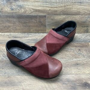 DANSKO Woman's 36 Professional Red Patent Two Tone Leather Clog Slid On US 5.5-6