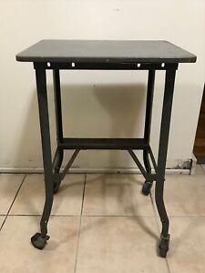 Vintage Toledo Steel UHL Ohio Desk Table Office Industrial Typing Stand