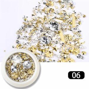 1 Box Glitter 3D Rhinestones AB Flat Nail Art Decor Gems Mixed Size Crystal DIY