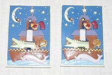 Noah's Ark Single Two Ceramic Switch Covers Wall Plates Whale Crocodile Fox Moon