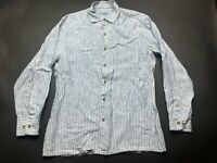 Tommy Bahama Mens Blue Striped Button Front Linen Shirt Size Large