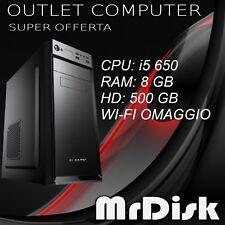 PC DESKTOP i5 650 ASSEMBLATO RAM 8 GB HD 500 GB COMPUTER WI-FI WINDOWS 10 PRO