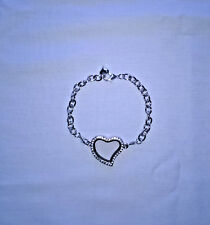 Fashion Silver Tone Heart Memory Locket Bracelet/Lobster Clasp,With Heart Charm